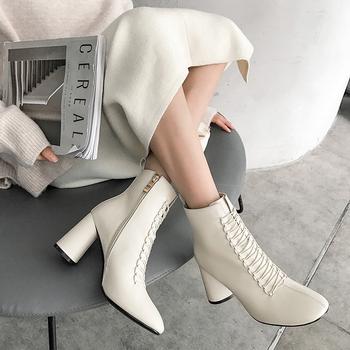 INS HOT kobiety botki prawdziwej skóry 22-26 5 cm stopy długość buty dla kobiet Pointed toe chelsea boots buty na wysokim obcasie tanie i dobre opinie vangull Skóra bydlęca ANKLE Pasuje prawda na wymiar weź swój normalny rozmiar Szpiczasty nosek Wiosna jesień Stałe
