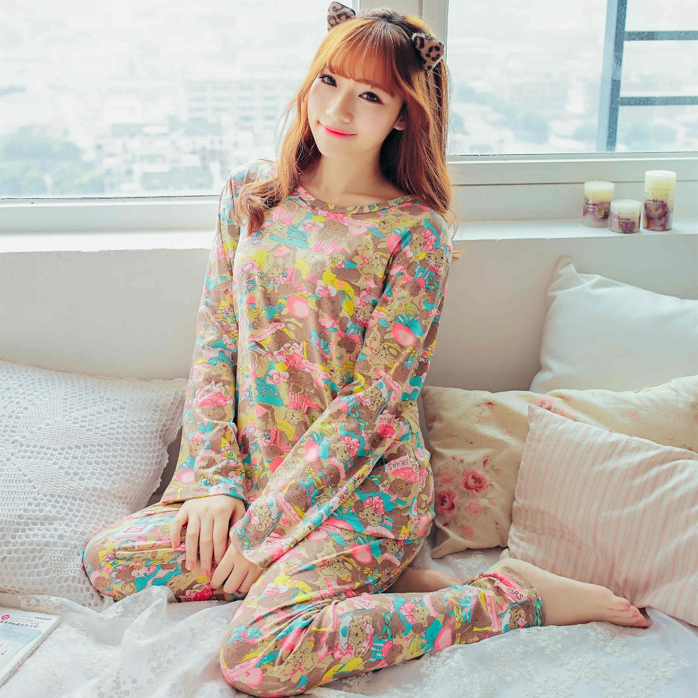 Womens   Pajamas     Sets   2018 Summer Round Neck Cartoon sleepwear long sleeve Homewear Women Sleepwear Short Pyjamas Pijamas Feminina