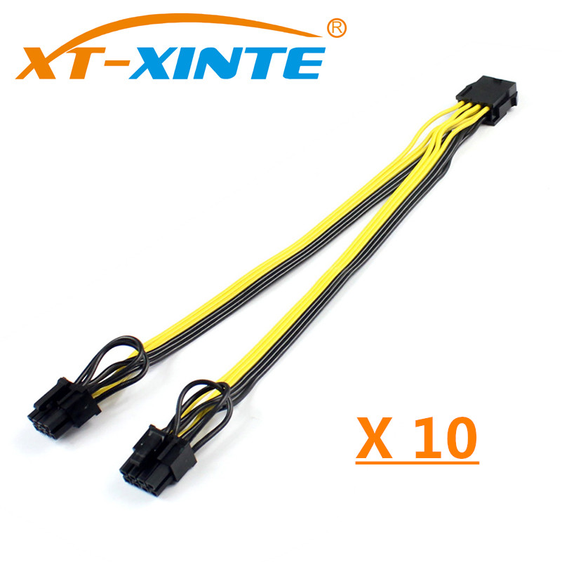 10PCS 25cm CPU 8Pin to Graphics Video Card Double PCI-E PCIe 8Pin ( 6Pin + 2Pin ) Power Supply Splitter Cable Cord 10x cpu 8pin to graphics video card