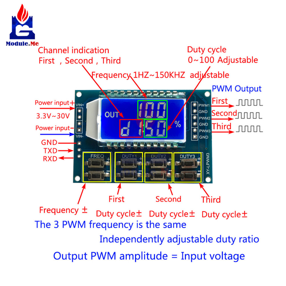 <font><b>DC</b></font> 3.3 -30 V 3 Channel Frequency 1 Hz -150 KHz Duty Cycle 0 -<font><b>100</b></font> Adjustable Meter PWM Signal Generator with LCD Display Meter image