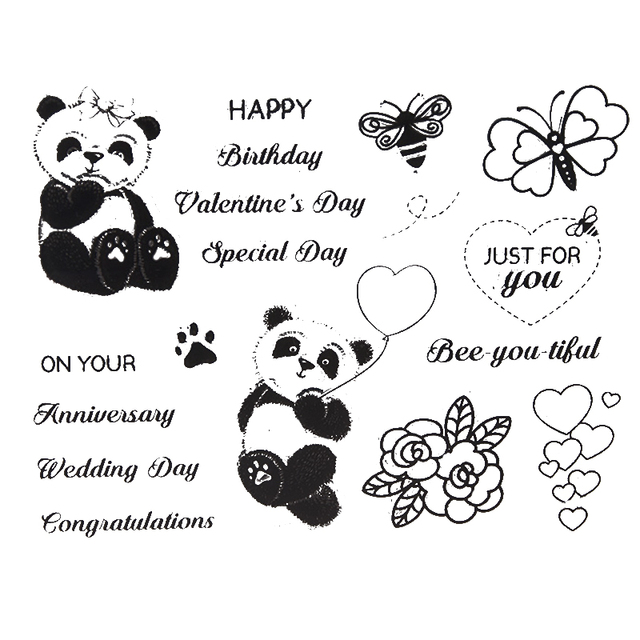 bee butterfly balloon pandas transparent clear stamps templates for