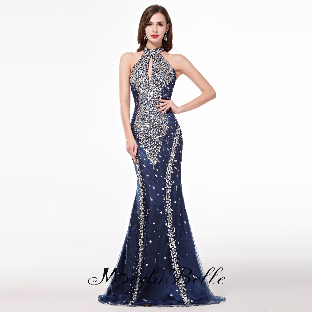 Mermaid elegant long evening dresses 2017high neck navy for Long elegant dresses for weddings