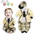 Baby's sets cotton shirt+ plaid pants+coat+hat+tie autumn long sleeve clothes for baby boys college style outfit