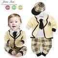 Conjuntos de algodão do bebê camisa xadrez + calça + casaco + chapéu + gravata outono roupas de manga longa para o bebê meninos roupa do estilo da faculdade