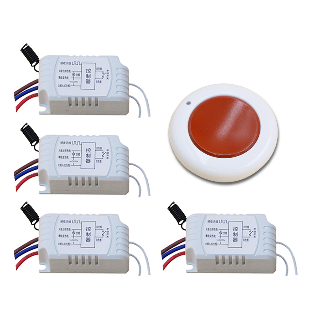 Hot Sales Wireless Light Remote Control Switch AC220V 1CH Relay Receiver with Transmitter Simple Operation 315/433mhz ac 220 v 1 ch wireless remote control switch system 4x transmitter with 2 buttons 1 x receiver light lamp ledon off 315 433mhz