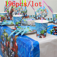 Party Supplies 196pcs/lot Avengers Theme Wedding Invitation Card Child Birthday Paper Cup Plate Straw Flag Tablecloth Set Supply