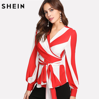SHEIN Color Block Womens Tops And Blouses Multicolor Long Sleeve V Neck Belted Blouse Bishop Sleeve