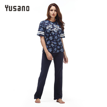 Yusano 2017 Summer Women s Pajamas Cotton Stripe Sleepwear O neck Short Sleeve Print Home Clothes