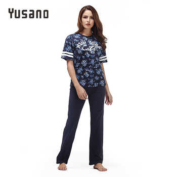 Yusano 2017 Summer Women's Pajamas Cotton Stripe Sleepwear O-neck Short Sleeve Print Home Clothes Pijama Unicornio Adult Pajamas - DISCOUNT ITEM  45% OFF All Category