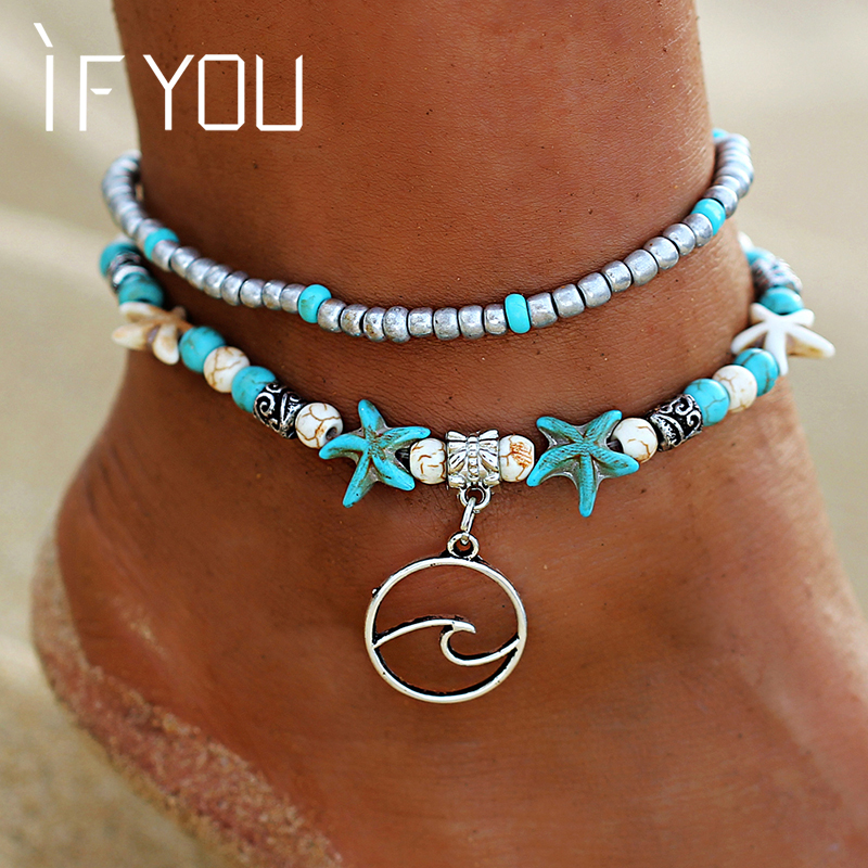 IF YOU 1pc Waves Starfish Foot Ankle Bracelet Jewelry For Women Summer Beach Green Bead Stone Girl Leg Charm Anklet Foot Jewelry