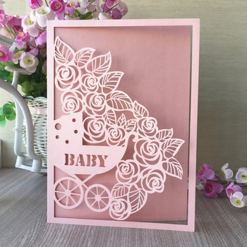 35pcs Laser Cut Carriage Pattern Invitation Card Birthday Card Baby Shower Decorations Gift Card Greeting Card