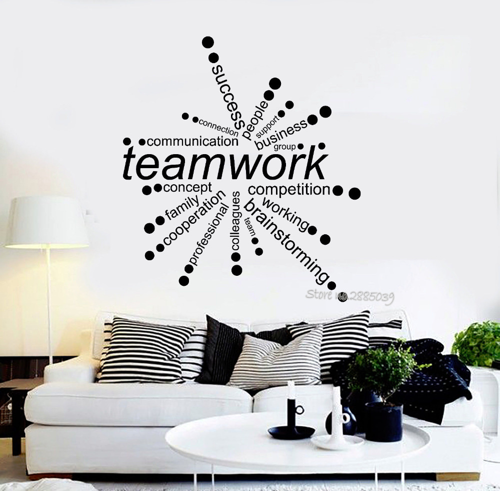 Teamwork Words Quote Vinyl Wall Decals Office Decor Business Decal DIY Self-Adhesive Wall Stickers Removable Art Wallpaper LA528