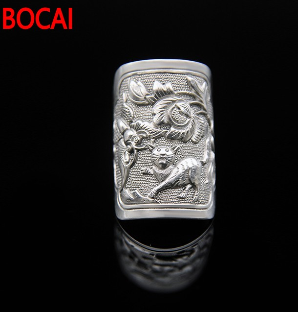 999 sterling silver handmade fine silver ring craft butterfly rich old retro cat ring special offer retro rhinestone rattan butterfly bracelet with ring