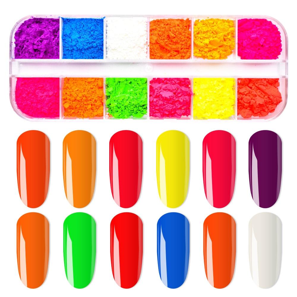 Image 5 - 12 Colors /Set Neon Pigments For Nails Powder Glitter Fluorescent Dust Gradient Pigments Manicure Neon PowderFor Nails SF3080-in Nail Glitter from Beauty & Health