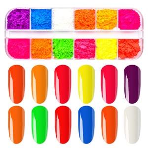 Image 5 - 12 Colors /Set Neon Pigments For Nails Powder Glitter Fluorescent Dust Gradient Pigments Manicure Neon PowderFor Nails SF3080