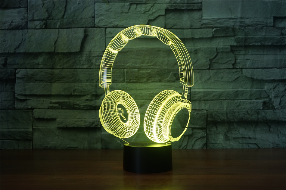 3D DJ Headphone Illlusion Lamp Studio Monitor Headset hifi Music Earphone 3d Night Light Color bedroom Table Lamp Home decor led (changeable)