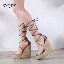 BYQDY Boho Summer Roman Sandals Ankle Strap Shoes Wedges Ultra High Lace Up Woman Platform Female Sandal Pumps sandalia feminina