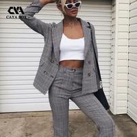 Fall 2018 Fashion Business Plaid Blazer and Pants Suits Elegant Women Suits Office Sets 2 Pieces Women Blouse Set Long Pants