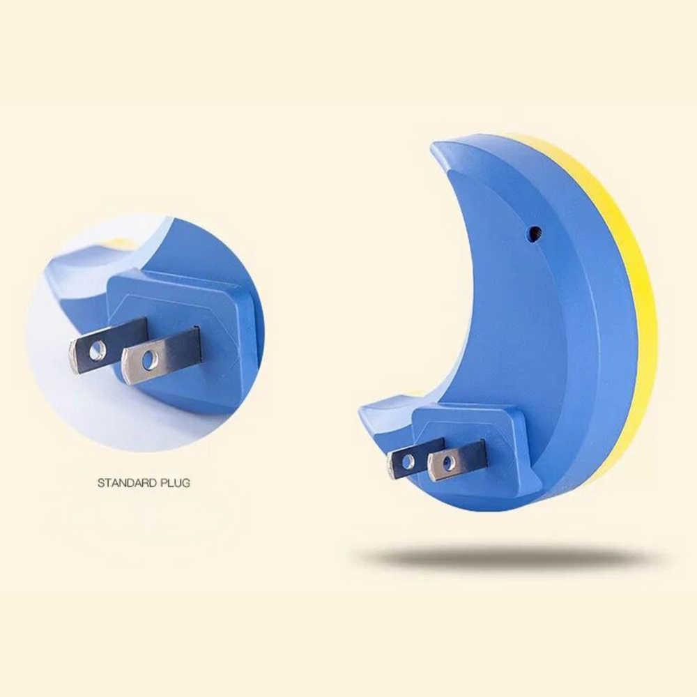US Plug Mini Moon LED Night Light untuk Malam Bayi Tidur Cahaya Lampu Tidur LED Sensor Kontrol Night Light
