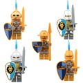 Super heroes de Oro Luz Castillo Medieval Armadura Caballero Azul León con Armas Figuras Bloques de Construcción de Ladrillos de Juguete Para Niños