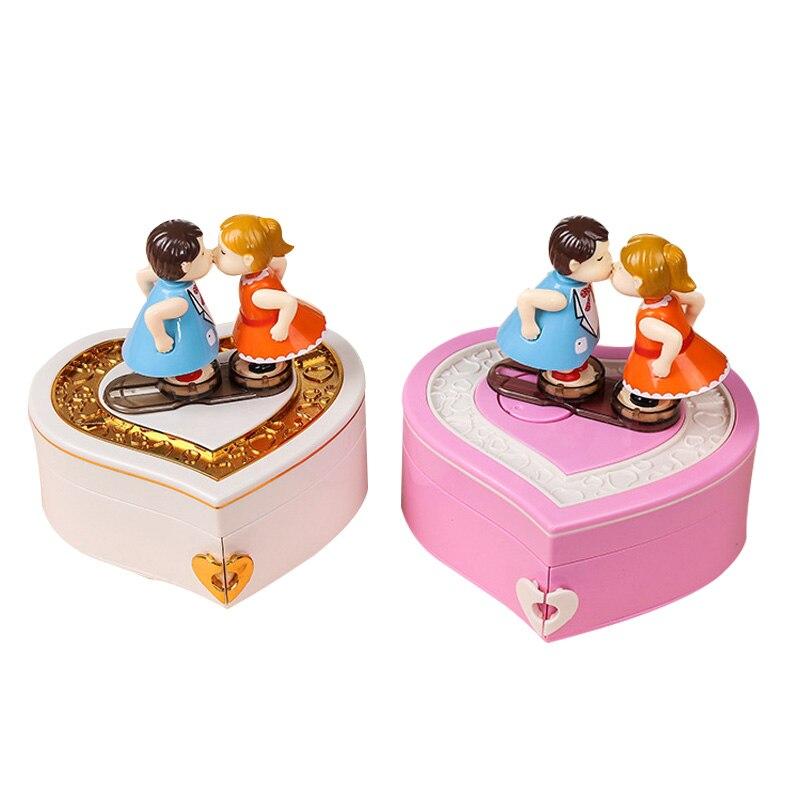 Lovely Valentine's Day Gift Music Box Jewelry Box Dancing Lovers Couple Music Box Birthday Gift Jewelry Storage Box Girls Gifts