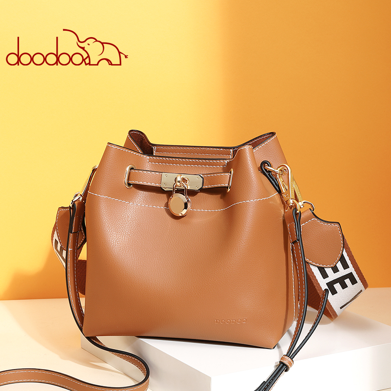 DooDoo Summer small bag female 2018 new fashion personality female  version of the wild girl wide shoulder strap bucket bags round buckle lunch box bucket bag female 2018 new fashion messenger female shoulder bag