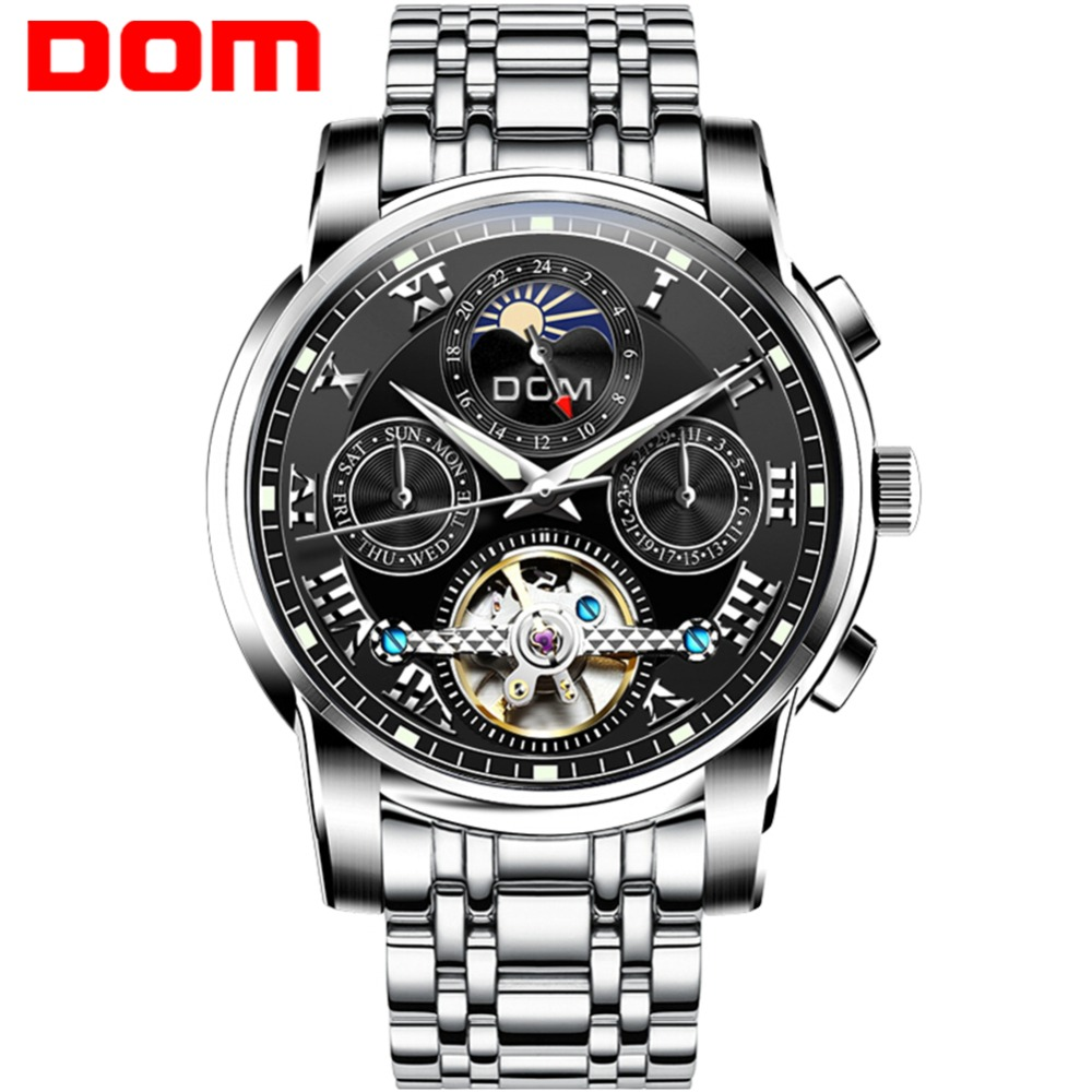 DOM New 2018 Men Full-automatic Mechanical Watch Tourbillon Luxury Fashion Brand Genuine Man Multifunctional Watches M-75D-1MH платье gregory gregory gr793ewclpz8