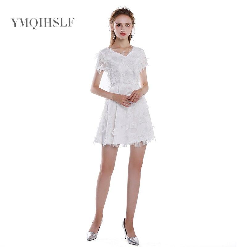 2018 Новое тонкое платье короткая юбка зима перо v образный вырез мини юбка сексуальное Белое платье подружки невесты День Рождения Вечеринка