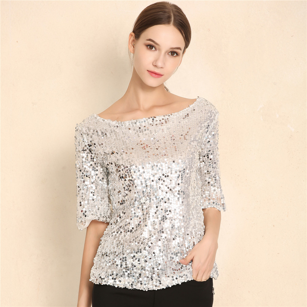 Hot In Europe And America New Women Tops And Blouses Sequin Embroidery Five-point Sleeve Loose Casual Shirt Plus Size
