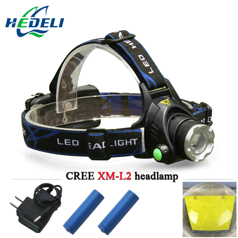 lantern LED headlamp CREE XM-L2 headlight XML T6 waterproof lanterne head lamp frontal head torch 18650 rechargeable battery