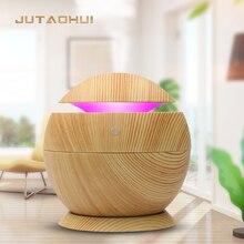 mini usb 130ml Air Humidifier Wood Grain Aroma Diffuse Desk Humidificador decoration Essential Oil Mist Maker LED Light for Home