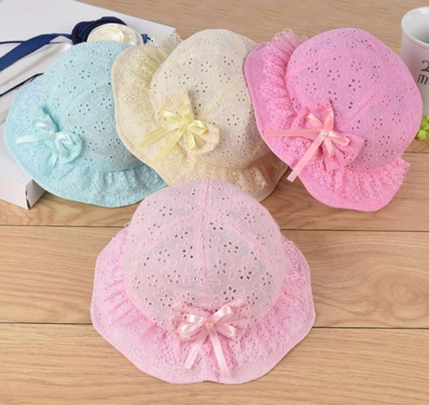 Princess Hat With Bow Solid Lace Hollow Baby Girls Cap Beach Bucket Hats Sun Hat