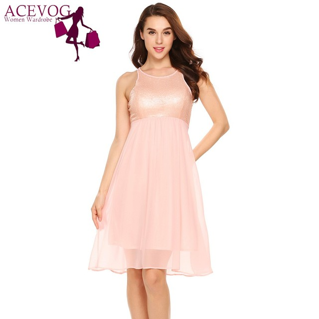 ACEVOG Women Elegant Dress Fashion Casual Sleeveless Sequin ...