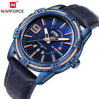 NAVIFORCE New Arrival Fashion Design Men S Watch Genuine Leather Strap Clock Popular Men Quartz Wrist