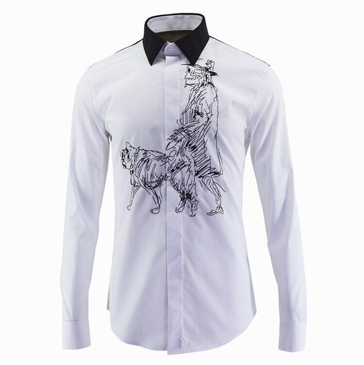 new arrival Dog embroidered long-sleeved shirt tide brand men slim spring summer fashion high quality plus size M L XL2XL 3XL4XL