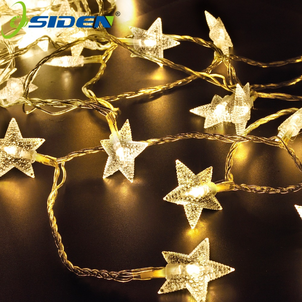 OSIDEN 2M 20LEDs 3AA Battery Powered STAR Shaped Theme LED String Fairy Lights Christmas Holiday Wedding Decoration Party Light