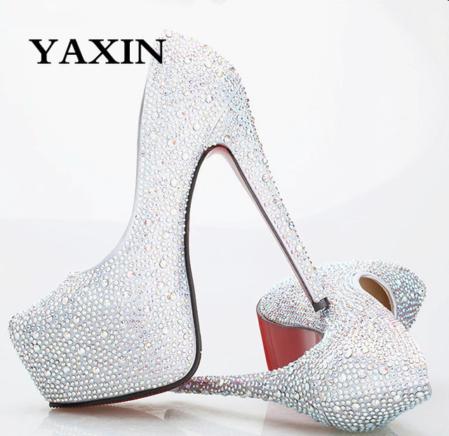 e66b26160d2 2015 Plus Size Ultra High Heels Red White Silver Black Gold  Champagne Pink Green Blue Rhinestone Platform Fashion Wedding Shoes