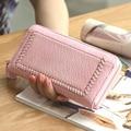 2017 Vintage Knitting Women Clutch Wallets Carteira Feminino Couro Fashion Braid Women Wallets And Purses Solid  Wallet Women