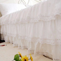 Free shipping 100%cotton deluxe three cake layers type white satin lace one piece bed skirt 45cm покрывало bed apron bedspread