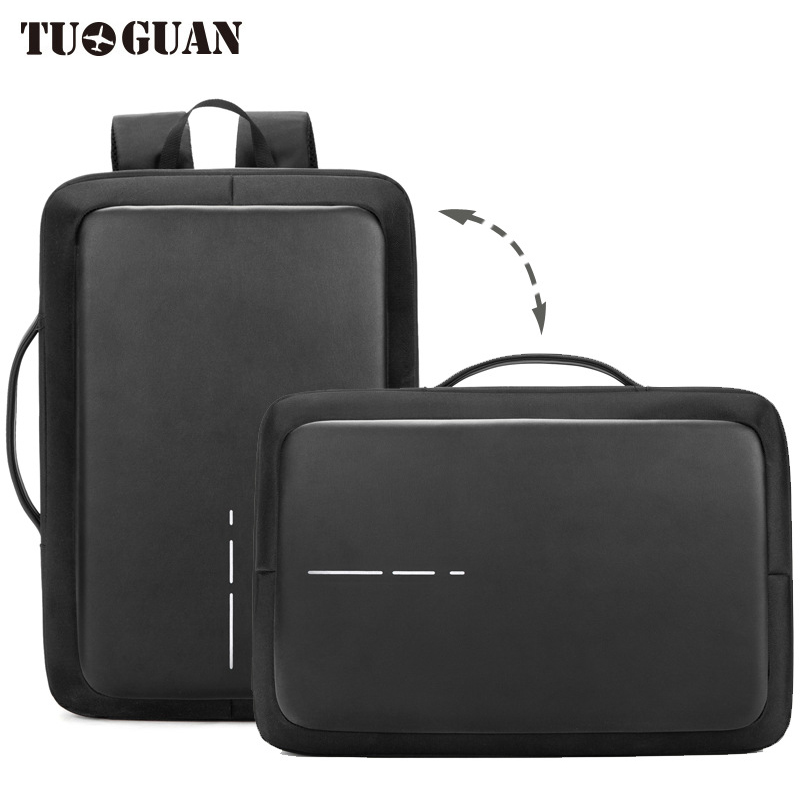 TUGUAN Leather Men Backpack Waterproof Anti Theft USB Charging Reflective Stripe Laptop Back Pack Business Bag Schoolbag Bagpack цена 2017
