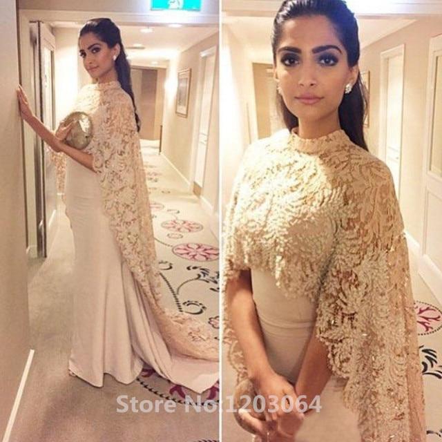 2016 Bollywood Actress Sonam Kapoor Evening Dresses High Neck Lace Beading  Long Cape Celebrity Gown Mermaid Arabic Dubai Gowns 41da80874c0a