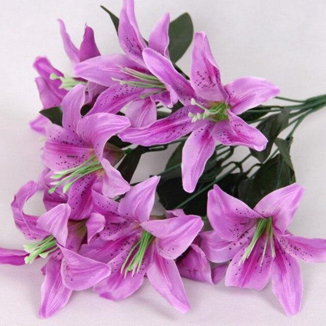 Neue Blume Kunstliche Lilien Bouquet 10 Kopfe Hochzeit