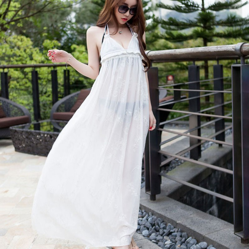 Women Summer Swimming Cover Up Sexy V Neck White Halter Long Beach Dress Chiffon Blackless Swimsuit Pareo Beachwear Cover Ups