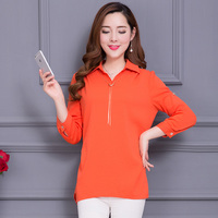 Women Summer Chiffon Blouses Turn Down Collar Half Sleeve Shirts Solid Color Casual Style Women Blouse