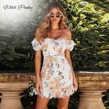 WildPinky New 2019 Fashion Women Dress Lace Up Floral Print Dress Sexy Off Shoulder Beach Mini Summer Dress Casual Party Vestido недорго, оригинальная цена