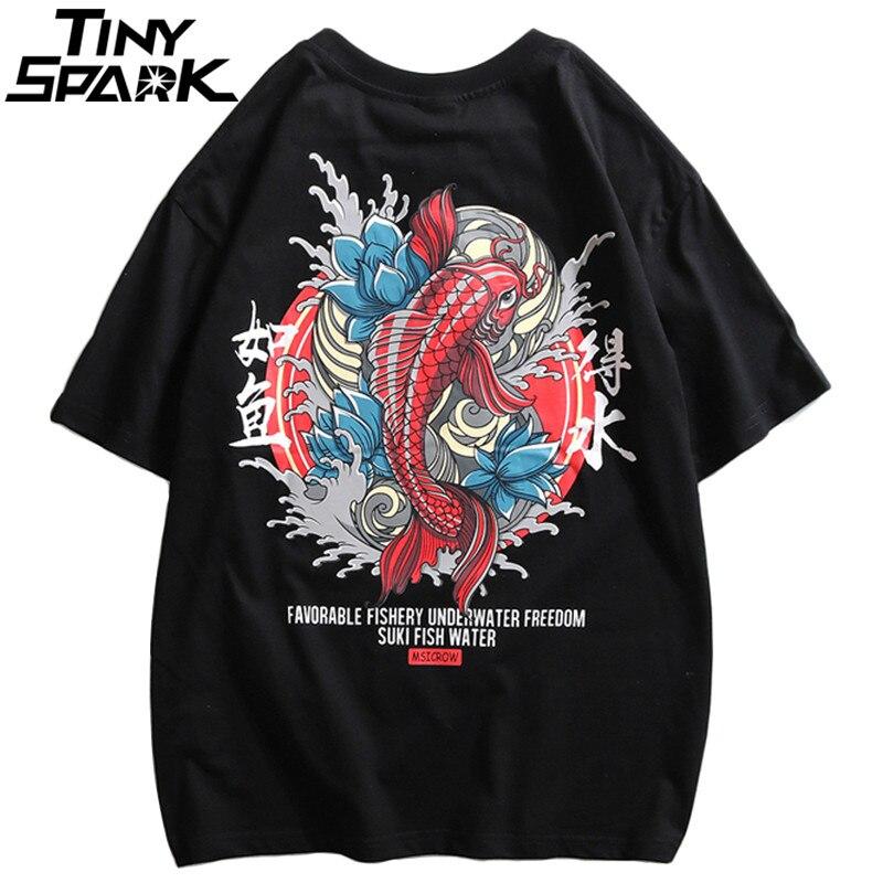 2019 Harajuku T Shirts Men Chinese Red Paradise Fish Print Hip Hop T-Shirt Streetwear Summer Spring Tshirt Short Sleeve Tops Tee