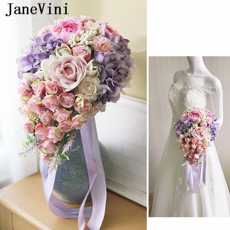 JaneVini 2019 Romantic Pink Waterfall Bridal Wedding Bouquet Flowers Country Style Artificial Silk Purple Rose Bouquet De Mariee