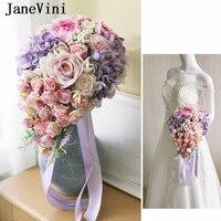 JaneVini 2019 Romantic Pink Waterfall Bridal Wedding Bouquet Flowers Country Style Artificial Silk Purple Rose Bouquet De Mariee