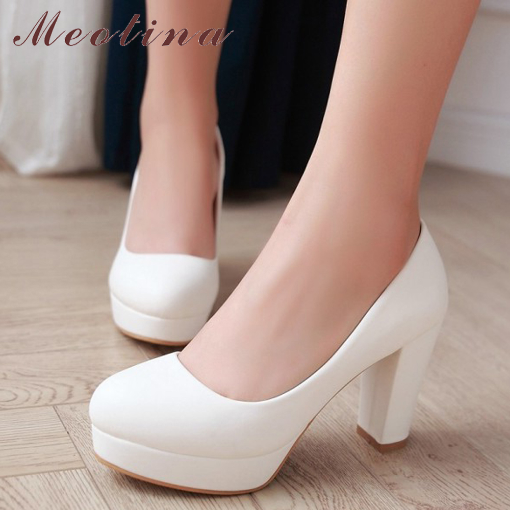 Meotina Women Shoes High Heels Platform Pumps Thick High Heel Plus Size 34-43 Causal Autumn Shoes Beige White Pink Zapatos Mujer