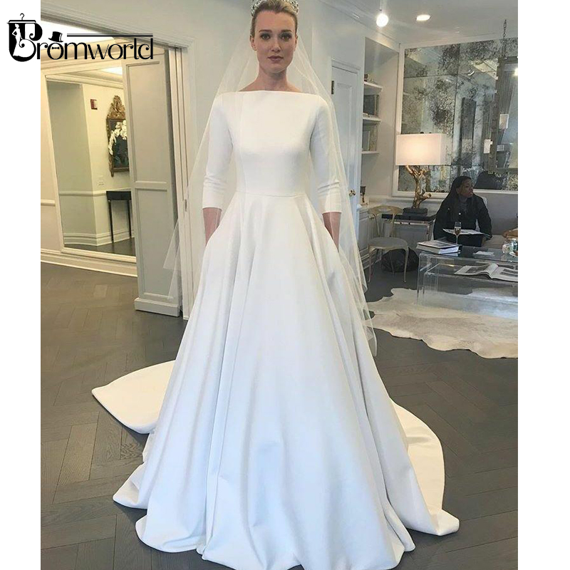 Vestido De Noiva 2019 Elegant Muslim Wedding Dress Boat Neck 3/4 Sleeves Ivory Satin Chapel Train Wedding Gown With Pocket